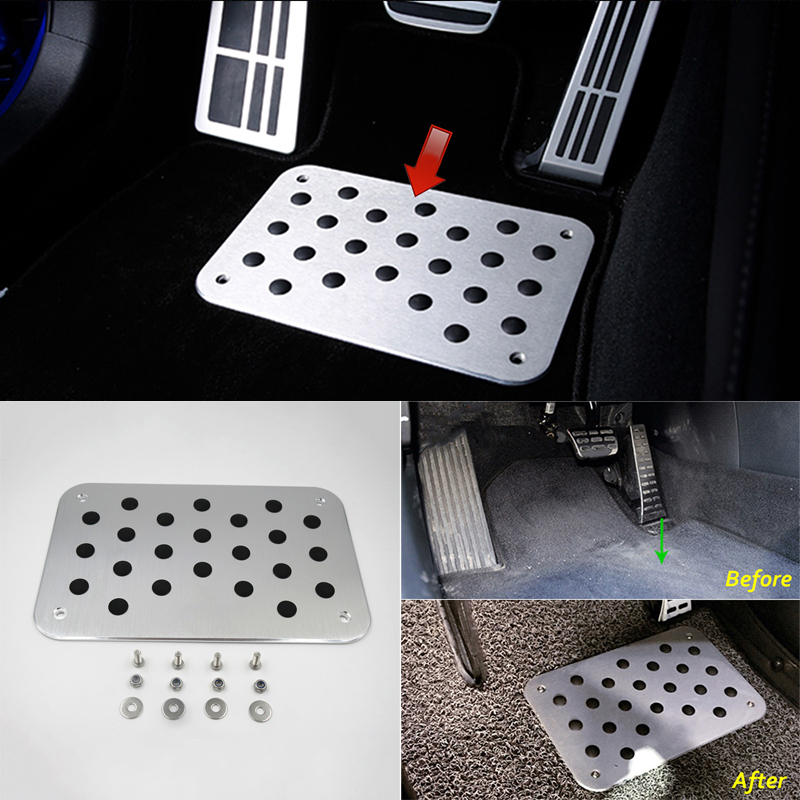 Image 2 - Universal Metal Truck Auto Car Floor Mat Carpet Heel Plate Foot Pedal Rest Decor-in Floor Mats from Automobiles & Motorcycles