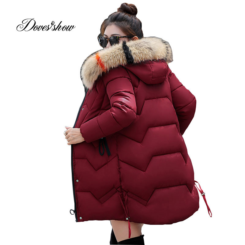 Hooded Winter   Down     Coat   Jacket Thick Warm Slim Women Casaco Feminino Abrigos Mujer Invierno 2018 Wadded Parkas Padded Outerwear