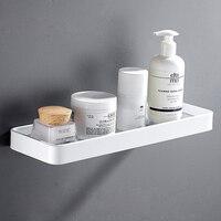 Square Bathroom Shelf Aluminum White Shower Shampoo Soap Holder Bathroom Shelf Bathroom Accessory Storage Organizer Rack Holder