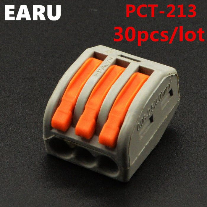 30pieces/lot) PCT-213 PCT213 WAGO 222-413 Universal Compact Wire Wiring Connector 3 pin Conductor Terminal Block Lever AWG 28-12 50pcs 221 413 original wago connector led connector compact splicing connectors 3 conductor connector original wago terminals