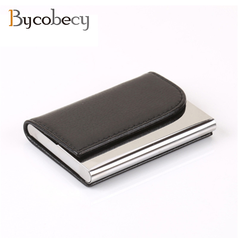 цена на BYCOBECY Big Capacity Business ID Credit Card Holder Name Card Wallet Bank Card Package Solid Steel Card Box Case