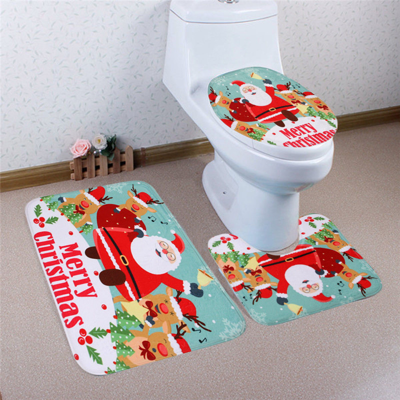 3pcs Fancy Santa Toilet Seat Cover+Rug Bathroom Set Christmas ...