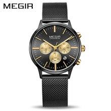 MEGIR Chronograph Lüks Kadın Bilezik Saatler Relogio Feminino Moda Kuvars Severler kol saati Saat Bayanlar Kızlar Hediye 2011