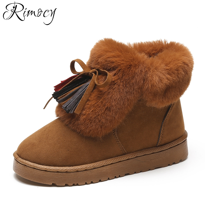 Rimocy brand design colorful tassel suede snow boots women 2017 thick fur platform warm winter shoes woman cotton flats booties new women knee high boots black and white sexy low heels pu leather autumn winter shoes round flat platform boots botas mujer