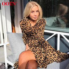 OOTN Elegant Leopard Floral Dress Women Summer Tunic Print Dress Female Short Mini Dress V Neck Sexy Ladies Office Long Sleeve(China)
