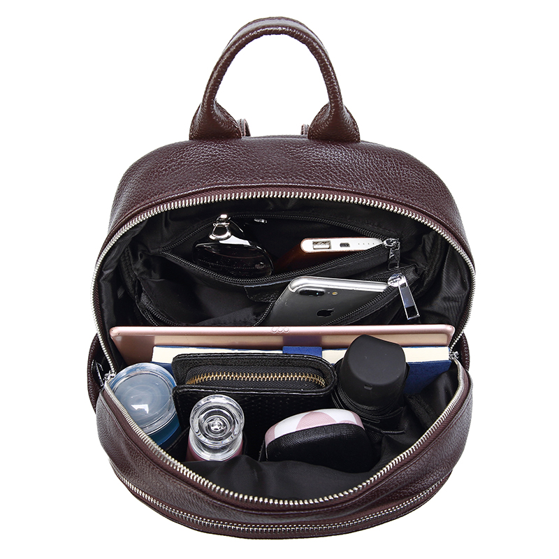 Image 5 - Fashion Women Backpack Genuine Leather for Teenage Casual Luxury  Travel Backpack Mini Laptop Schoolbag Special Purpose  BackpackBackpacks