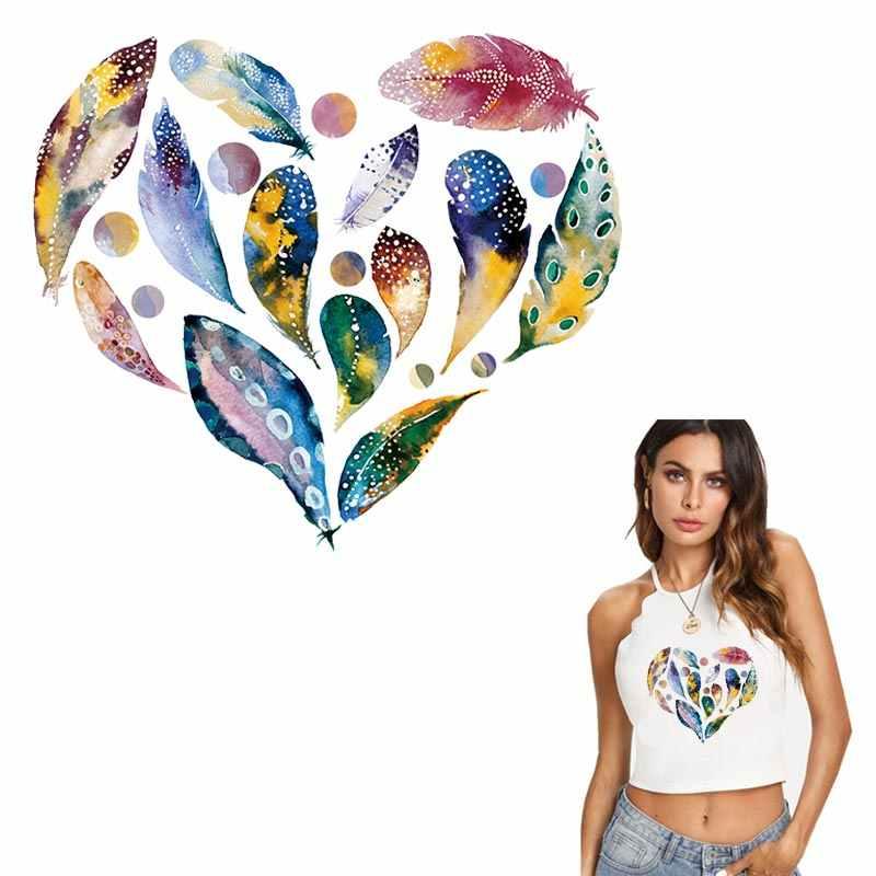 Mooie Hart Veer Patches Voor Kleding Diy Kleurrijke Ijzer Op Stickers Warmteoverdracht Vrouwelijke T-shirt Wasbare Geappliceerd Y-162