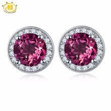 Hutang Round Earrings Made With 2.16ct Natural Gemstone Rhod