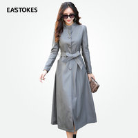 Women Leather Trench Coats With Bow Tie Waist Ladies Long Faux Leather Jacket Female Autumn Winter