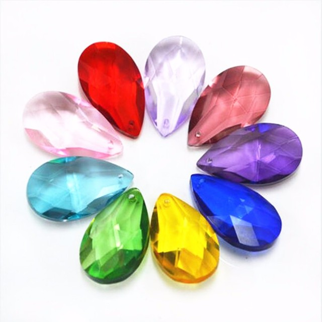 38mm 100pieces Mix Colored Crystal Almond French Pendant Chandelier Prisms Lighting Parts Shinning Hanging