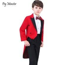 Kids Formal Dress Tuxedo Piano Performance Costume Flower Boys Birthday Wedding Suits