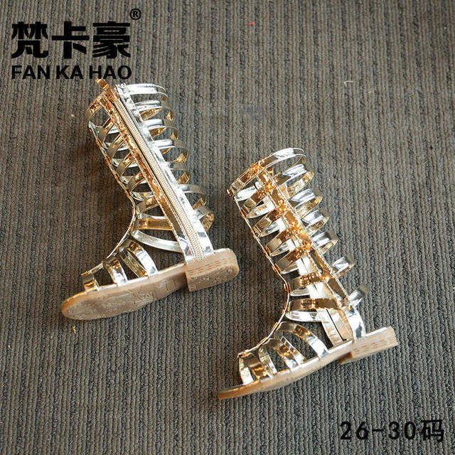 children sandals 2017 summer new high tube fashion leather bright golden Roman shoes princess shoes beach sandals kids roman san