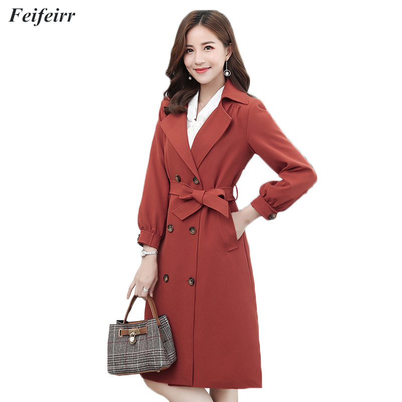 Abrigos Spring Autumn 2019 Korean Fashion double-breasted long simple   Trench   Coat Mujer loose Belt large size 5XL Overcoat