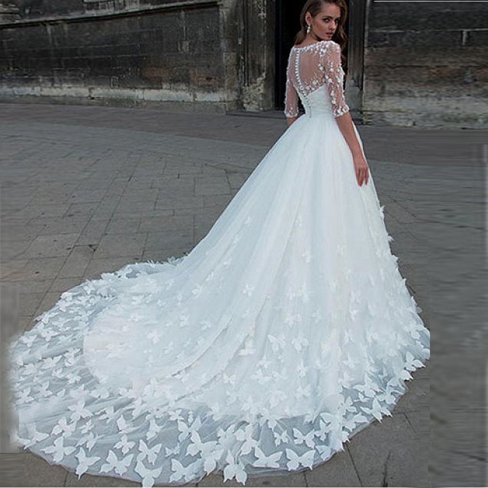 Sexy Sweetheart Off Shoulder Wedding Dresses Handmade Butterflies Bridal Gown Long Tulle Wedding Dress With Detachable Jacket