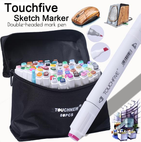 Touchfive 36/40/60/72/80/168Colors Pen Marker Set Dual Head Sketch Markers Brush Pen For Draw Manga Animation Design Art Supplie touchfive 30 40 60 80 168 colors marker set sketch markers brush pen dual head art markers set for draw manga animation design
