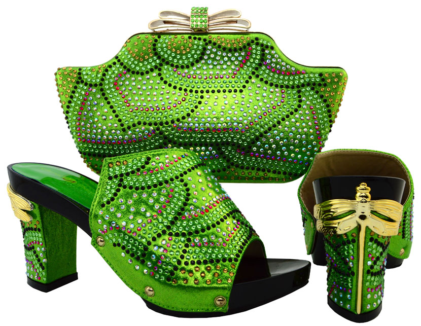 ФОТО 2017 Green New African Style Rhinestone Shoes And Bag Set For Wedding Party Summer Design Ladies Pumps Shoes And Bag Set BCH-15