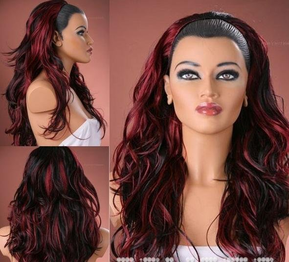 Free Shipping Wholesale Tousled 34 Hair Extensions Wig Black Red
