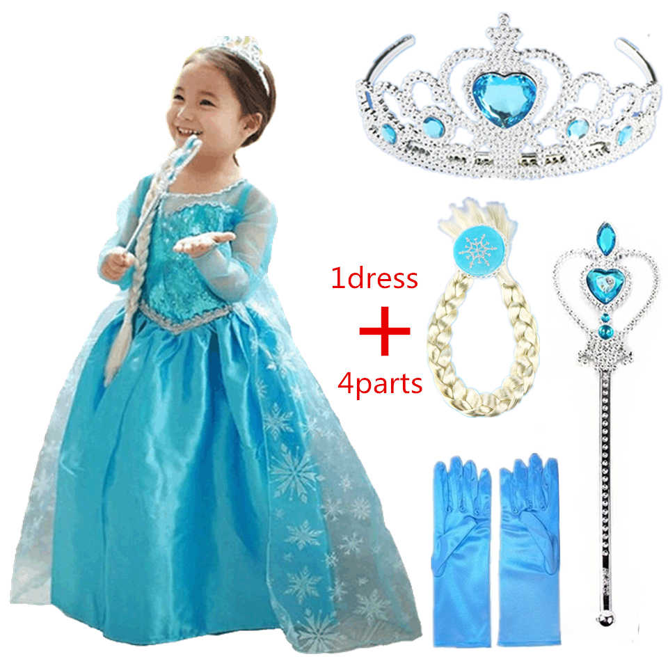 Elsa Anna Disney Frozen Dresses Girl Elsa Anna Costume With Hair Accessory Set Blue Lace Long Sleeves Kid Sequinned Children Cosplay Dress