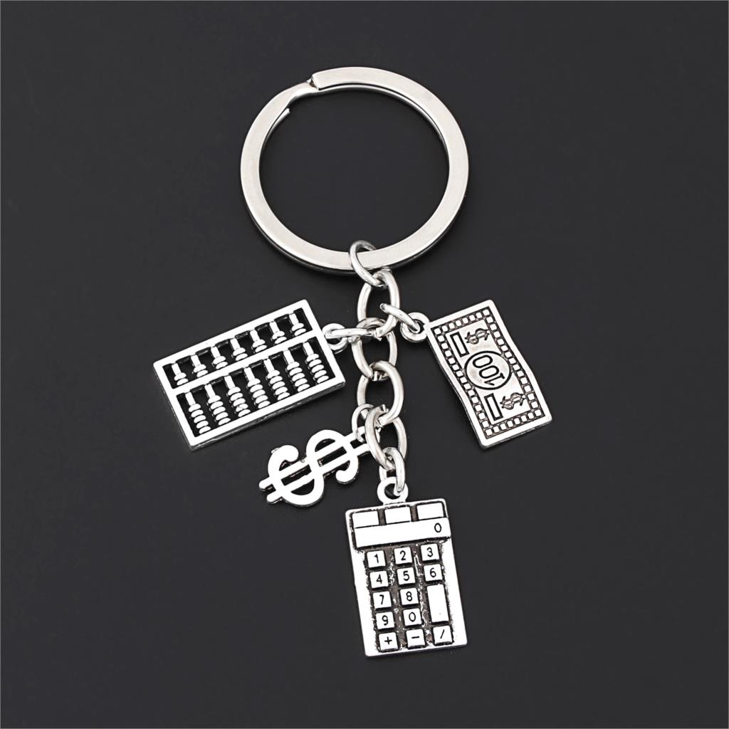 1Pc New Arrived Calculator Accounting Keyring 100 Dollar Bill And Sign Pendant Fit Men Purse Gift Diy Jewelry Wholesale E2693