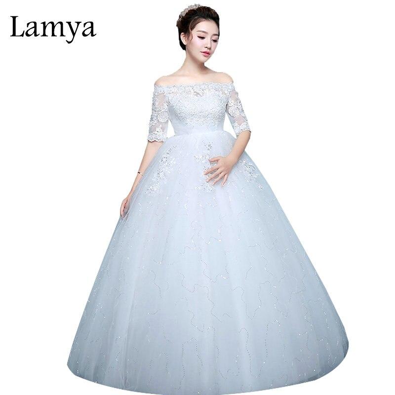 LAMYA Pregnant Fashion Simple Dot Famous Brand Wedding Dresses Tulle Lace Ball Gown Bridal Gown Cheap Plus Size robe de mariee