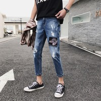 2019 Fashion Brand Mens Jeans Ripped Zipper Fly Ripped Hole Patch High Street Denim Jeans for Men Casual Skinny Pencil Pants