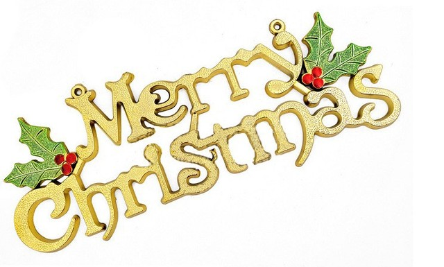 Promotion Sale Christmas Tree Ornament Decoration 30cm Golden Merry Word Plate