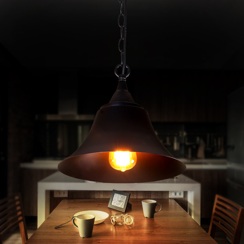 ФОТО Loft vintage creative design pendant light Art industrial hang lamps Modern minimalist black iron cap fixtures for dining room
