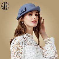 FS Black Gray 100% Wool Berets Vintage Winter French Beret Women Felt Hats Fedoras Bowknot Artist Ladies Top Caps Autumn Hats