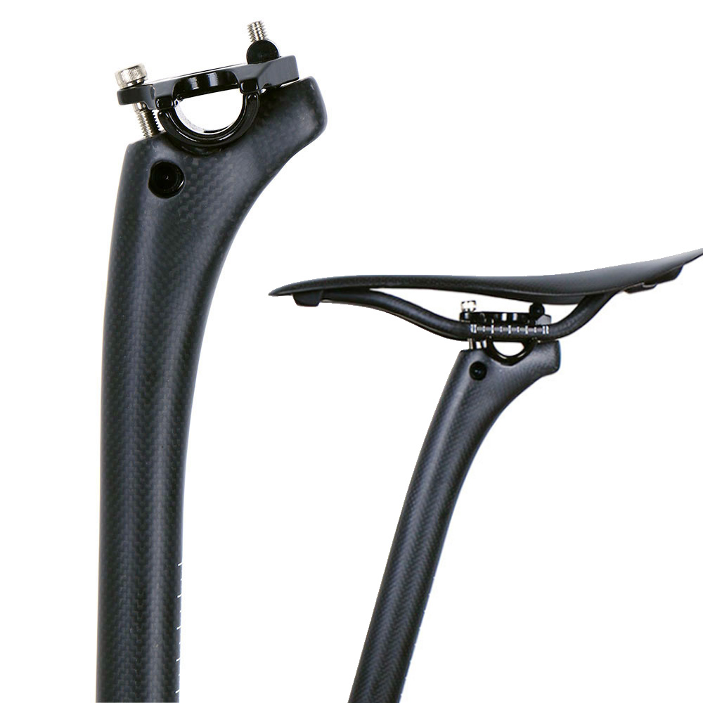 цена на Cycling Seatpost 3K Finish Bike Tube Offset 25mm Full Carbon Fiber Bike Seat Post