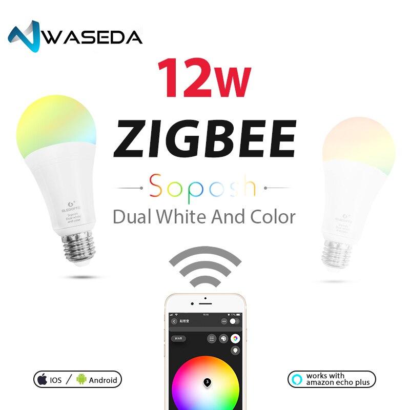 Waseda Dual bianco e di colore 12 w HA CONDOTTO LA lampadina di RGB della luce ZIGBEE ww/cw AC100-240V ZIBEE ZLL di Collegamento luce lavoro con amazon ecoh E27E26