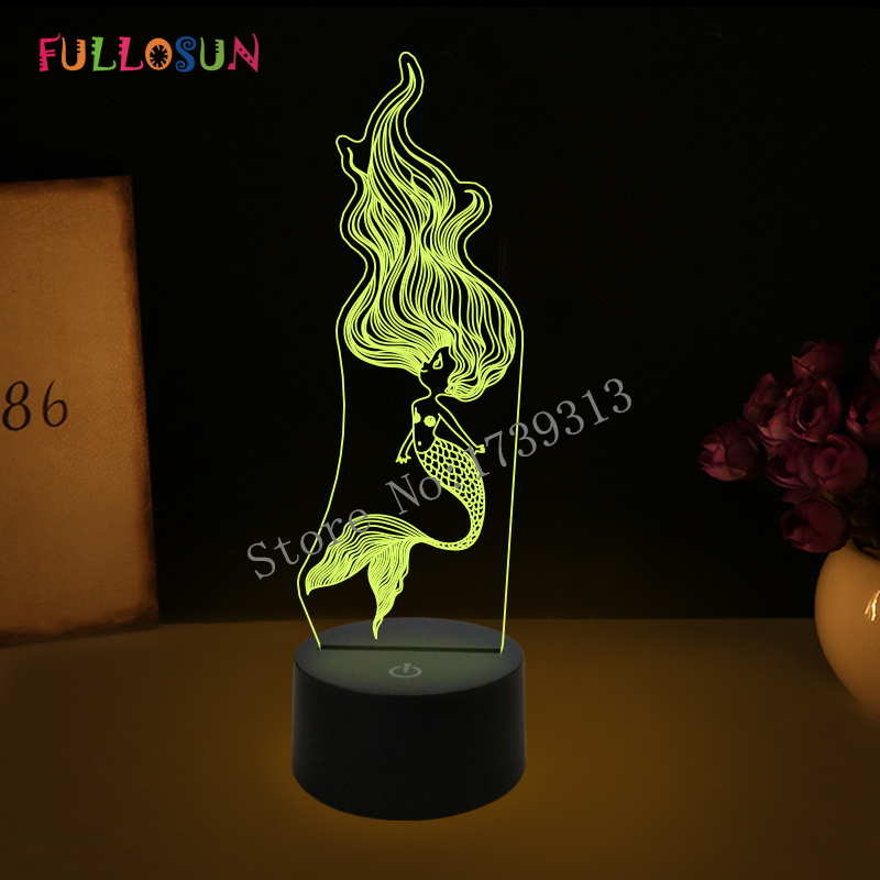 Cutely Mermaid Princess Light Lamp Colorful USB LED Baby Desk Lamp Bedroom Decoration 3D Night Light for Girls Toy Gift