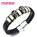 MOZO FASHION Men Stainless Steel Magnetic Clasp Black Leather Skull Bracelet Charm Bracelets Punk Jewelry Accessories MPH1061