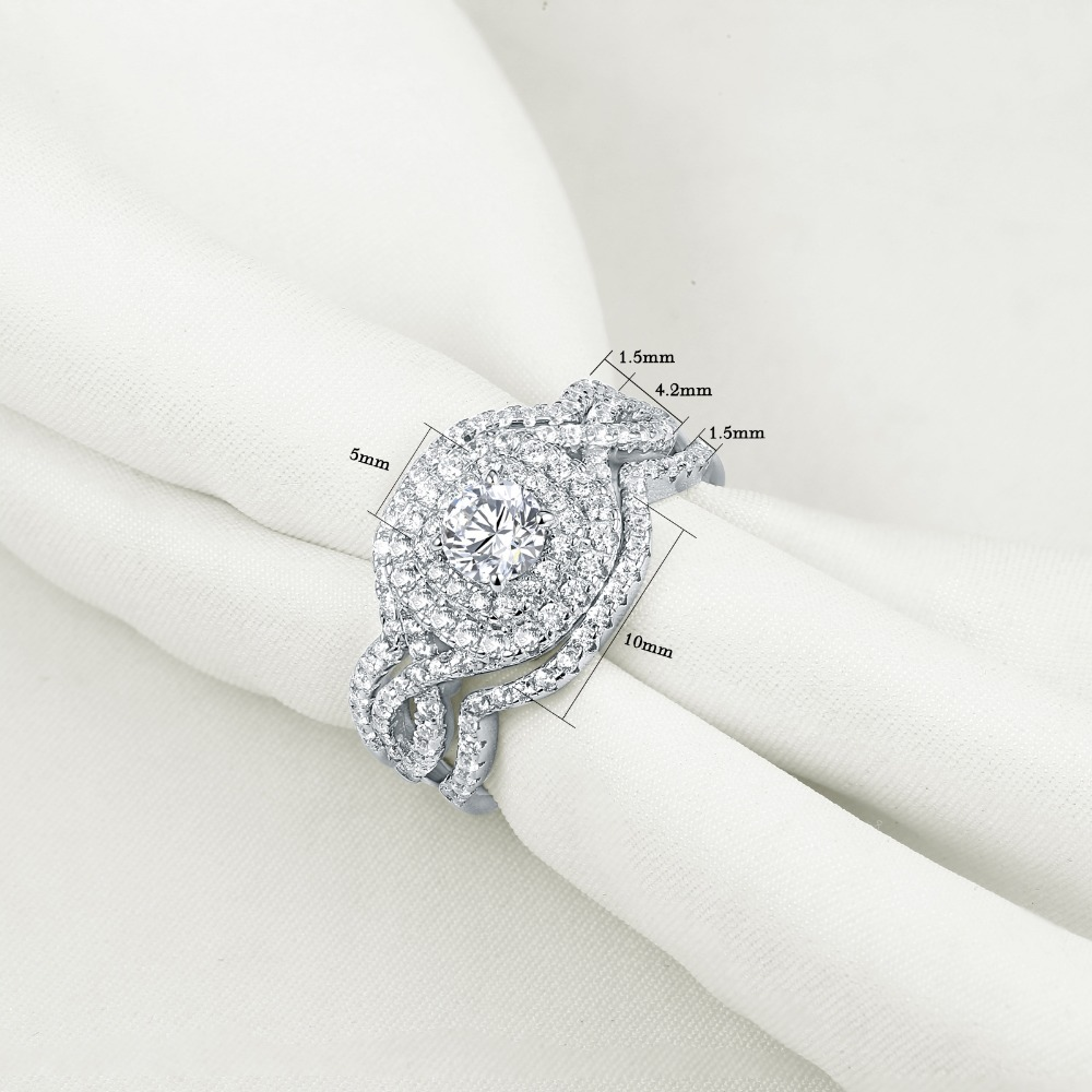 2.1Ct AAA CZ 925 Sterling Silver Unique Bridal 3Pcs Ring Set