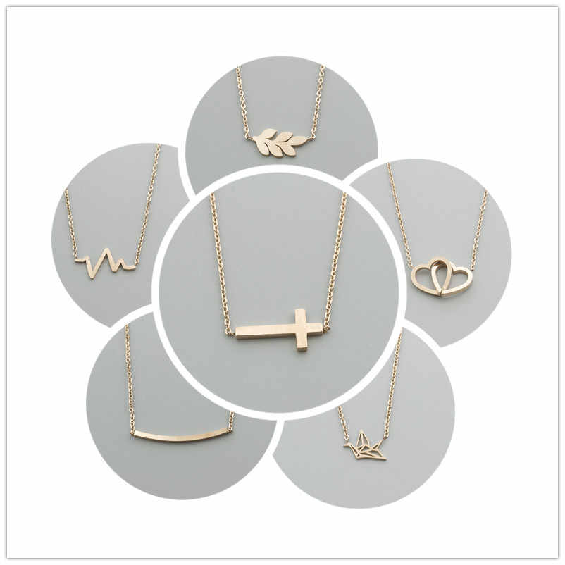 Stainless Steel Rose Gold Color Leaf Heartbeat Heart to Heart Bar Crucifix Jesus Christian Cross Pendant Necklaces for Women Men