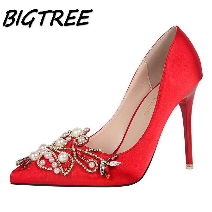 BIGTREE women Pointed Toe High heel shoes woman shallow Crystal pumps ladies Party Wedding String Bead thin heels Retro shoes