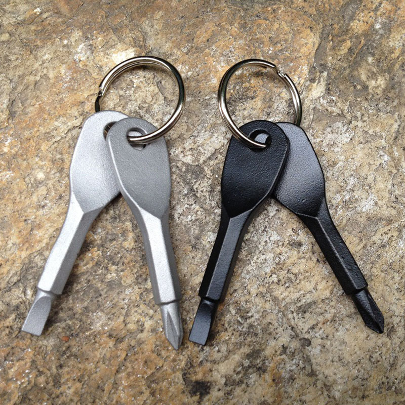 2Pcs/set Key Screwdriver EDC Outddor Camping Survival Equipment Tourism Multifunctional Portable Mini Keychain Tools