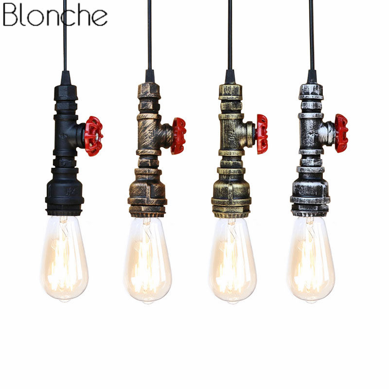 Edison Head Lamp Loft Style Light Fixtures 5 Water Pendant Pipe c4ASjR53Lq