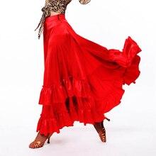 Женская красная юбка для фламенко, платья для выступлений, юбки для бальных танцев, вальс, танго, фламенко, танцевальный костюм DL2876