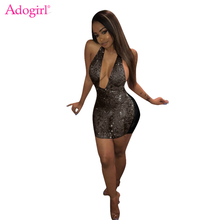 Adogirl 2018 New See Through Sequins Mini Dress Sexy Plunging Deep V Neck  Halter Bodycon Club 661317835