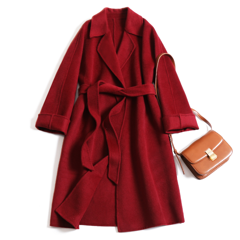 New 100% Wool coat Cashmere Overcoat In Spring 2019 Red Long Alpaca Cashmere Coat Women's Wool Coats With Belt Brand Quality