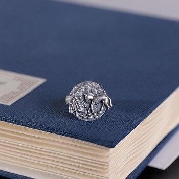 S925 plata vintage plata tailandesa mate caballo para Éxito anillo abierto anillo de moda mujer