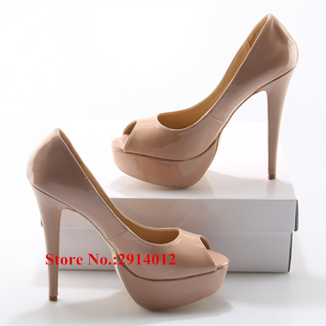 9f5ac1dc1d7 US $30.48 30% OFF Ladies Nude Patent Leather Sexy Women Pumps 14CM High  Heels Peep Toe Platform Dress Party Wedding Shoes Woman Chaussure Femme-in  ...