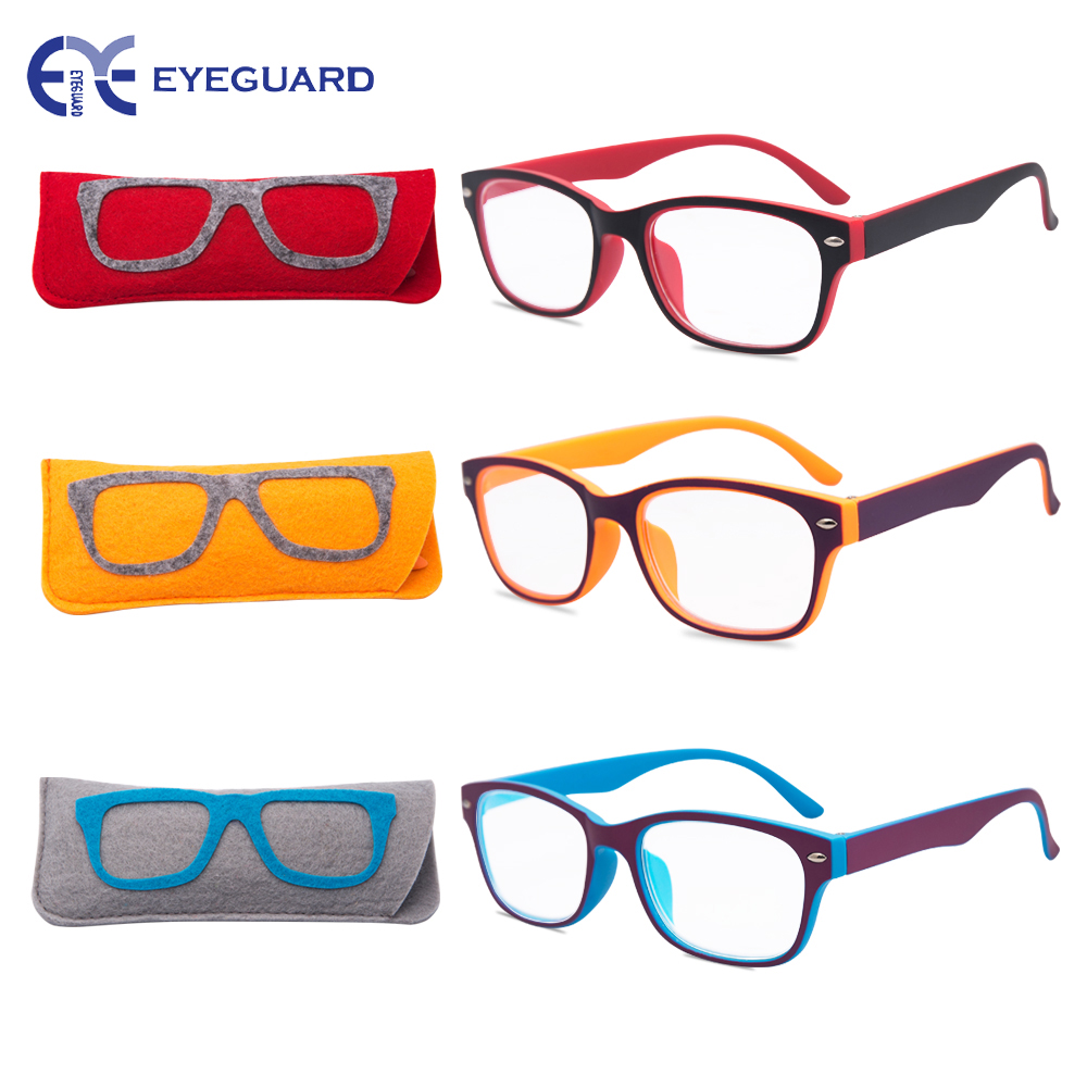 EYEGUARD Reading Glasses Women Readers Lightweight PC Rectangle Frame Stylish 3 Pairs/Pack