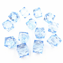 10Pcs Blue Transparent Spacer Beads Square Faceted Acrylic Fashion Jewelry DIY Findings Charms 20mm