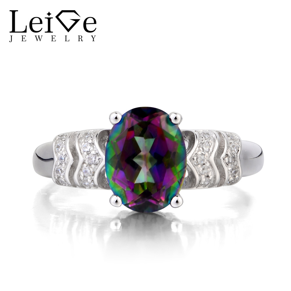 Leige Jewelry Real Mystic Topaz Ring Engagement Ring Oval Cut Rainbow Gemstone Genuine 925 Sterling Silver Ring Gifts for WomenLeige Jewelry Real Mystic Topaz Ring Engagement Ring Oval Cut Rainbow Gemstone Genuine 925 Sterling Silver Ring Gifts for Women