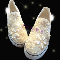 White Crystal Pearl Beaded Canvas Vulcanize Women Shoes Sneakers with Platform Thick Sole for Girls Lady Pregnant Bridal