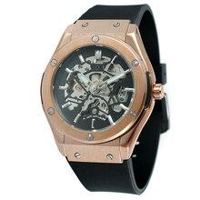Hombres Top Marca de Relojes De Lujo Automático Esquelético Relojes relogio masculino Relojes banda de Silicona Hombres Reloj mecánico Esquelético