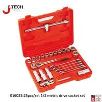Jetech 25 piece 1/2 dr metric socket set automotive tools auto car vehicle repair tool case box lifetime guarantee
