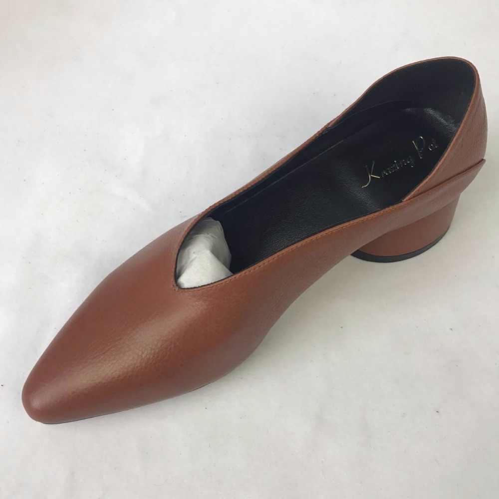 Krazing Pot 2019 echt leer Europese designer merk schoenen holle wees teen dikke med hakken Britse eenvoudige chool pompen L70
