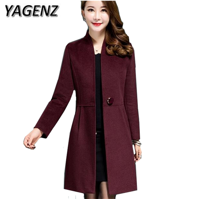 YAGENZ New 2017 Winter Coat Women Middle-aged Elegant Slim Thick Woolen Long Overcoats Warm Solid Female Jacket High Quality 5XL